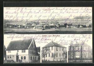 AK Meiches, Gasthaus und Handlung Güntner, Schulhaus, Pfarrhaus