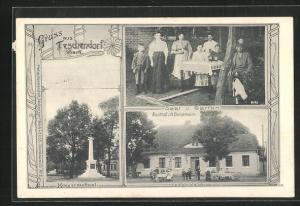 AK Teschendorf / Mark, Gasthof v. W. Bergemann, Saal und Garten, Kriegerdenkmal