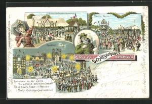 Lithographie Hannover, Schützenfest, Uniformierte Schützen Gesellschaft, Arbeiter-Verein, Rundteil