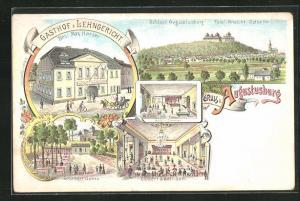 Lithographie Augustusburg, Gasthof z. Lehngericht, Innenansichten Gast-Zimmer und Concert & Ball-Saal, Schattiger Garten