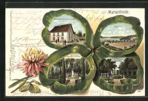 Präge-Passepartout-Lithographie Marienheide, Hotel Wirth, Partie a. d. Garten und Parkanlagen d. Hotel Wirth, Talsperre