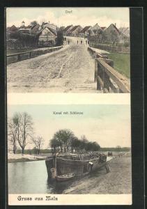 AK Malz, Dorf, Kanal mit Schleuse