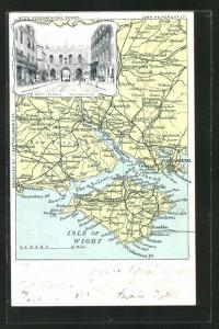 AK Southampton, South Bargate, Ortspartie und Landkarte mit Isle of Wight