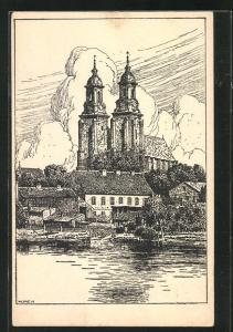 Künstler-AK W. Lenz: Gnesen / Gniezno, Der Dom, Deutsches Land im Osten