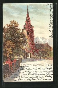 Lithographie La Tour-de-Peilz, Turmbogen