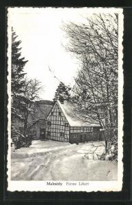 AK Malmédy, Ferme Libert, Winteridyll, Bauernhaus
