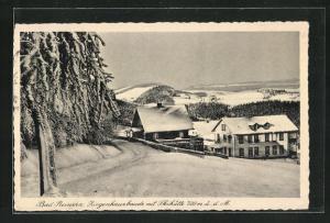 AK Bad Reinerz, Ziegenhausbaude mit Skihütte