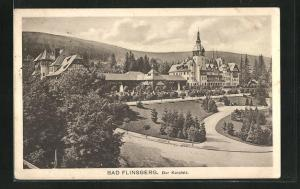 AK Bad Flinsberg, Panoramablick auf den Kurplatz