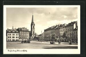 AK Reichenberg / Liberec, Bismarckplatz mit Erzdekanalkirche