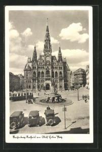 AK Reichenberg / Liberec, Rathaus am -Platz