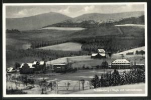 AK Brückenberg, Teilansicht im Winter gegen Schneekoppe