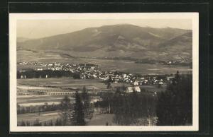 AK Gross Ullersdorf, Panoramablick auf den Ort und ins Land