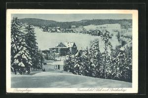 AK Krummhübel, Winterlicher Blick nach Brückenberg