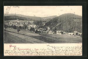 AK Krummhübel, Teilansicht mit bewaldeten Kuppen