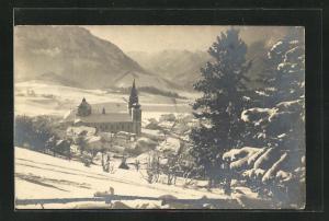 AK Mariazell, Teilansicht mit Kirche