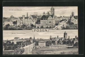 AK Posen / Poznan, An der Schlossbrücke, An der Theaterbrücke