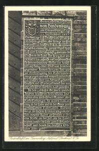 AK Hohenstein, Gedenktafel am Tannenberg National-Denkmal