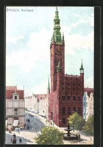 Künstler-AK Danzig / Gdansk, Strassenpartie am Rathaus
