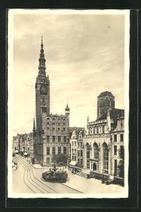 AK Danzig / Gdansk, Rathaus und Artushof