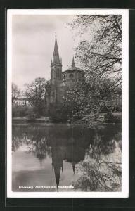 AK Bromberg / Bydgoszcz, Stadtpark mit Paulskirche