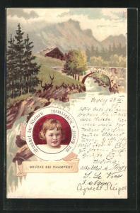 Lithographie Champéry, Brücke beim Ort, Reklame für Nestlé Kindermehl
