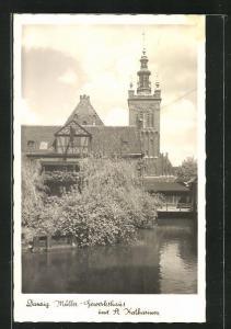 AK Danzig / Gdansk, Müller-Gewerkshaus und St. Katharinen