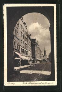 AK Danzig / Gdansk, Blick vom Stockturm auf die Langgasse