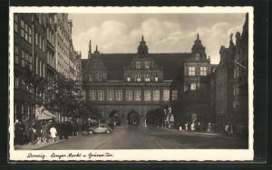 AK Danzig / Gdansk, Langer Markt und Grünes Tor