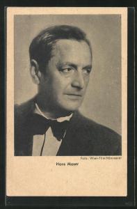 AK Schauspieler Hans Moser im Anzug mit Fliege