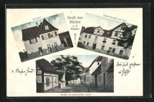 AK Höchst a. d. Nidder, Gasthaus von Reul, Bahnhof, Strassenpartie mit historischer Linde