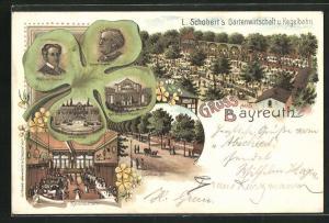 Lithographie Bayreuth, L. Schobert`s Gartenwirtschaft u. Kegelbahn, Kleeblatt mit S. und R. Wagner, Eremitage u. Theater
