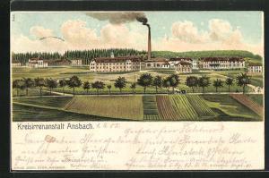 Lithographie Ansbach, Totale der Kreisirrenanstalt