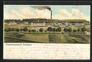 Lithographie Ansbach, Motiv der Kreisirrenanstalt