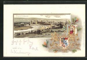 Passepartout-Lithographie Aschaffenburg, Totale und Wappen