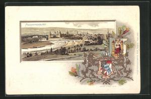 Passepartout-Lithographie Aschaffenburg, Wappen und Panorama