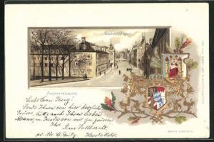 Passepartout-Lithographie Aschaffenburg, Luitpoldstrasse und Wappen