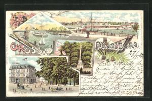 Lithographie Rendsburg, Hôtel Green mit Jungfernstieg, Lornsen-Denkmal, Drehbrücke