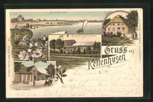 Lithographie Kellenhusen, Gasthaus Petersen`s Strandhaus, Joofe`s Gasthof, Strand