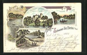 Lithographie Ellerbek, Schwanen-See, Haupt-Gebäude und Kieler Kochschule
