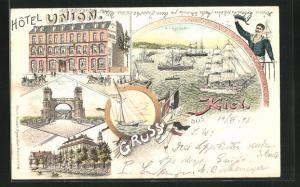 Lithographie Kiel, Hôtel Union, Hochbrücke, Schloss, Kriegshafen