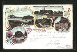 Lithographie Bordesholm, Hotel Alter Haidkrug, Insel u. Kirche, Die grosse Linde