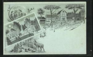 Mondschein-Lithographie Ilsenburg, Gasthaus Forsthaus Plassenburg, Karls-Klippen, Jagd-Schloss