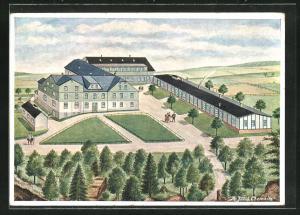 Künstler-AK A. Julich: Seiffen /Erzgeb., Turnerburg, Ferien-, Jugend- & Skiheim der Freien Turnervereinigung Chemnitz