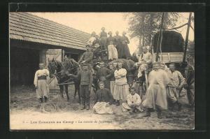 AK Les Zouaves au Camp - La corvée de fourrage, Zuaven, Soldatenleben