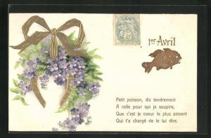 Präge-Lithographie 1er Avril, Petit poisson, dis tendrement..., vergissmeinnicht und Fisch
