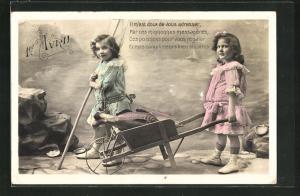 AK 1er Avril, Il m`est doux de vous adresser, Kinder mit Schubkarre voller Fisch