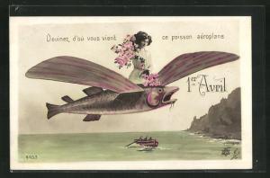 AK 1er Avril, Devinez d`où vous vient..., Dame auf fliegendem Fisch