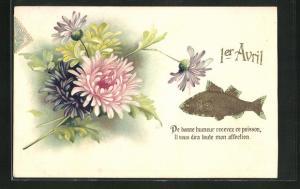Präge-Lithographie 1er Avril, De bonne humeur recevez ce poisson, Blumen und Fisch