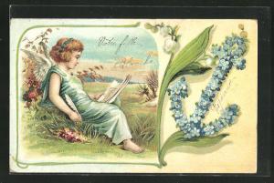 Präge-Lithographie Engel und Vergissmeinnicht-Anker, Allegorie, Hoffnung