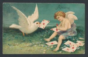 Präge-Lithographie Amitie, Engel und Taube mit Briefen